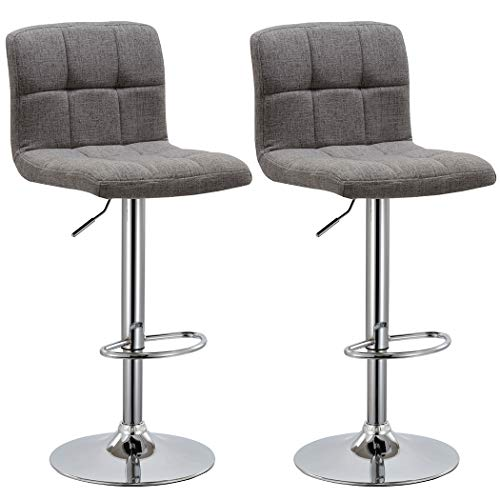 Duhome 2 PCS Fabric Modern Bar Stools Hydraulic Adjustable Swivel Kitchen Counter Height Chair (Grey Fabric)