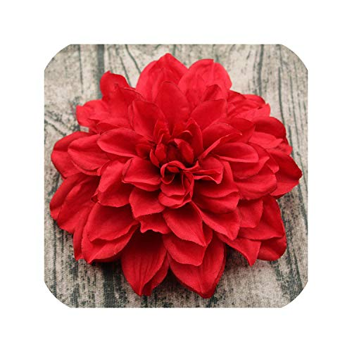 LOVE-JING 5 pcs Diameter 15cm high-Grade Dahlia Crepe Artificial Flower Head Wedding Home Decoration Handmade DIY Silk Flowers,Red