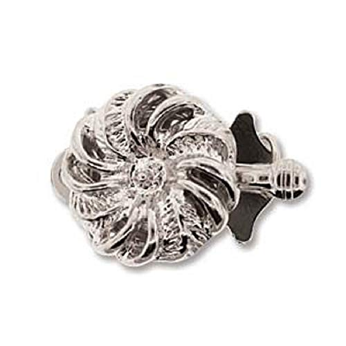 Box Clasp Large (Silver Tone Swirl Push Pull Box Clasp - Single- Strand Clasp - 3 Clasps Per Package)