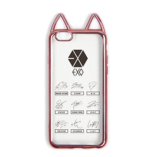 Fanstown Kpop iPhone 6 iPhone 6s case Electroplate Pink Frame Clear Silicon Rubber Korean Style Cute cat Ear Idol Signature