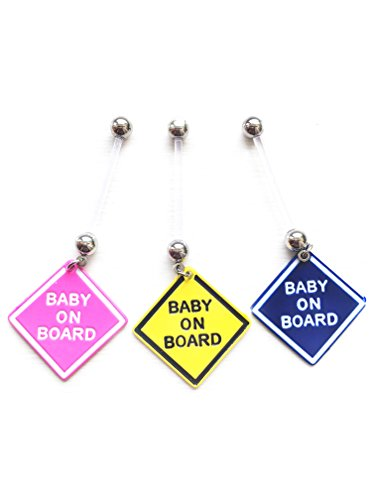 Set of 3 Blue Pink Unisex Purple Girl/ Boy Sets Pregnancy Maternity Belly Navel Bars bar PFTE Flexible Retainers Flexible Jewel, Glitter, Star or more choose (3 baby on boards)
