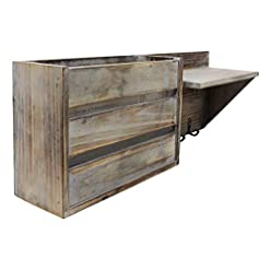 Entryway Vintage Torched Wood Rustic Wall Mounted Key & Mail Holder/Organizer with 3 Key Hooks, 1 Compartment, and Shelf – for…