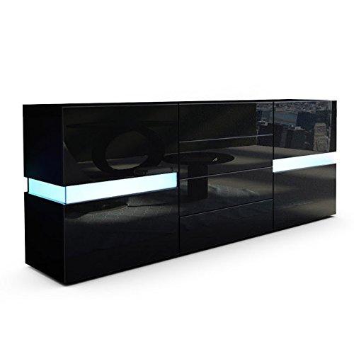 Credenza Moderna Faro Mobile Nero con LED