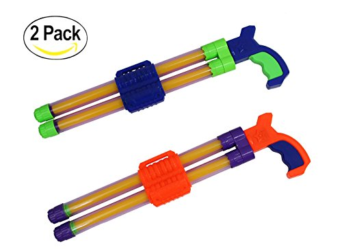 Machine Gun Barrel (Ouzong 2 Pack Double Stream Machine Water Launcher With Non-Slip Holder For Kids Adults - 17 Inch Powerful Water Gun)