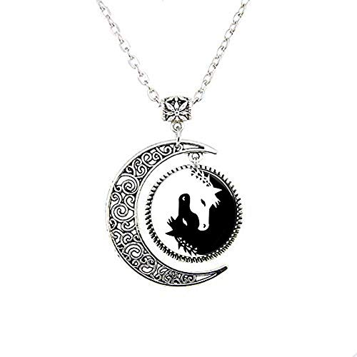 (Horse Moon Necklace Jewelry,Yin Yang Black and White Animals Art Pendant, Glass Photo Charms Photo Medallion Pendant Necklace)