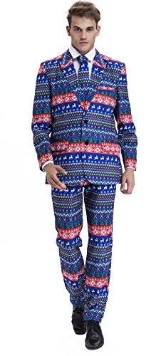 YOU LOOK UGLY TODAY Mens Bachelor Party Suit Funny Costume Novelty Xmas Jacket with Tie CHRISTMAS ELK-Medium (Santa In Blue Suit)