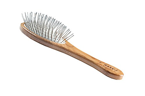 Style & Detangle Pet Brush | 100% Premium Alloy Pin | Pure Bamboo Handle | Medium Oval | Dark Finish | Model A9-DB by Bass Brushes
