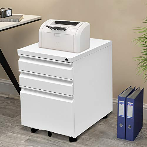 Giantex Rolling Mobile File W/3 Lockable Drawers and Pedestal for Office Study Room Home Steel Storage Cabinet (White) by Giantex (Image #5)