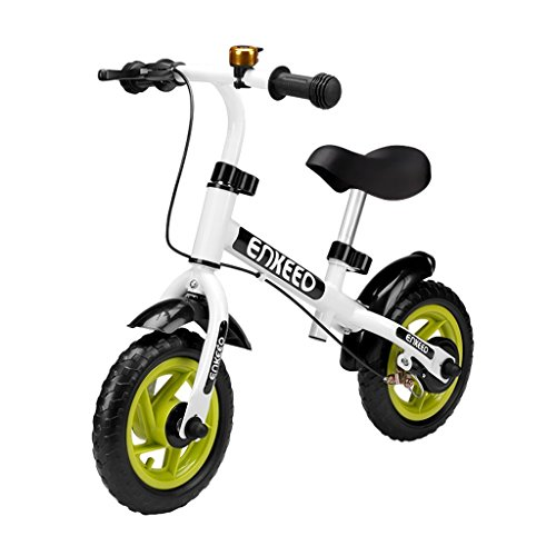 Old Bell (Enkeeo 10″ No Pedal Balance Bike with Bell and Hand Brake for 2-5 Years Old Kids, Carbon Steel Frame, Adjustable Handlebar and Seat, 50kg Capacity, White)