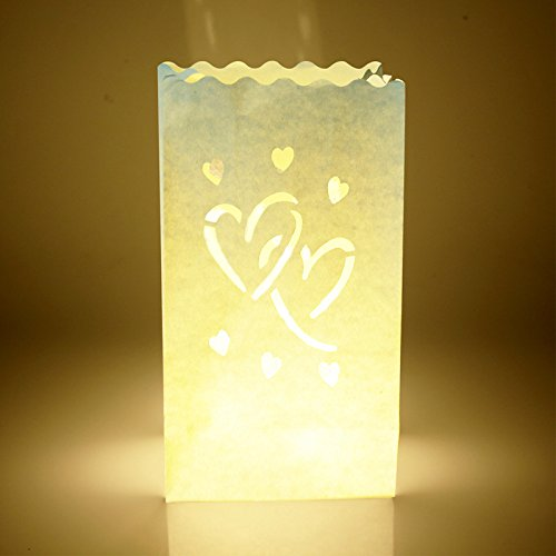 F2C 50PCS Wedding Heart Tea Light Holder Luminaria Paper Lantern Candle Bag Home Valentines Day Gifts Party Decoration