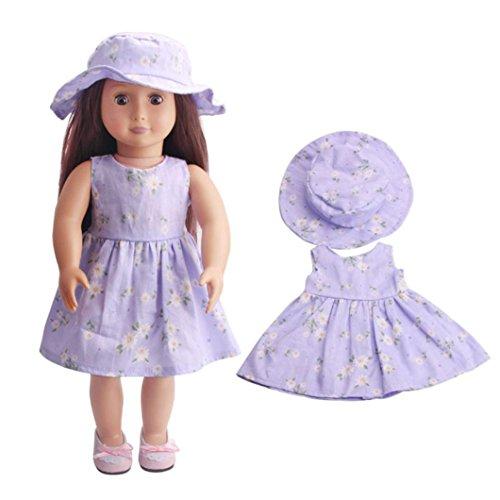 merican Girl Doll Fashion Summer Sleeveless Dress+Sun Hat Clothes (D) ()