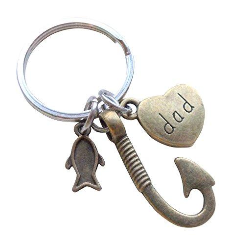 Little Fish Charm - Bronze Dad Fish Hook Keychain with Little Fish Charm - Hooked on You Dad; Father's Keychain