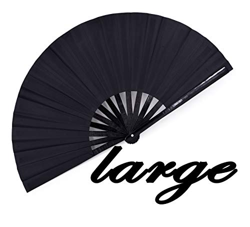 meifan Large Rave Folding Hand Fan for Women Men, Chinese Japanese Bamboo Fan Hand Fan for Festival, Dance, Gift, Performance, Decorations (Black)]()