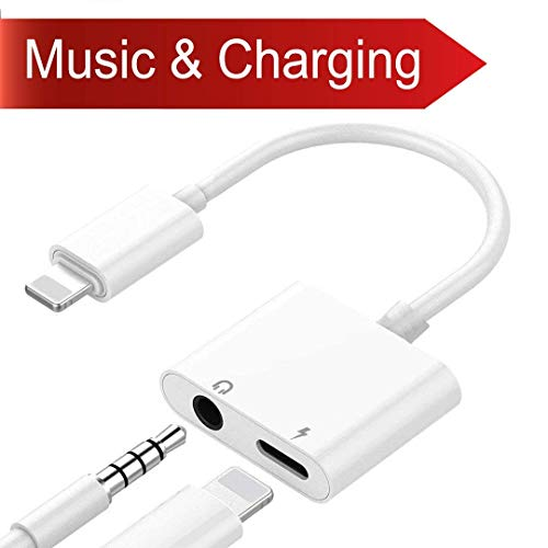 Best Buy! Compatible for iPhone 2 in1 Adapter Jack Headphone Adaptor 3.5mm AUX Earphone Connector Au...