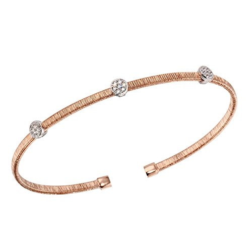CloseoutWarehouse Three Clear Cubic Zirconia Circle Open Bangle Rhodium And Rose Gold-Tone Plated Sterling Silver - Open Circle Bangle