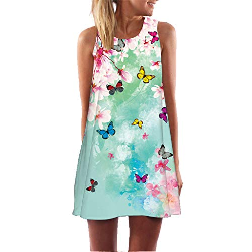 URIBAKE 2019 Women Summer Short Dress Sleveless Floral Butterfly Print Casual Beach Vintage Mini Dress