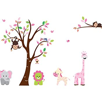 Cartoon cute monkeys big trees removable wall stickers home decor decals for childrens room nursery