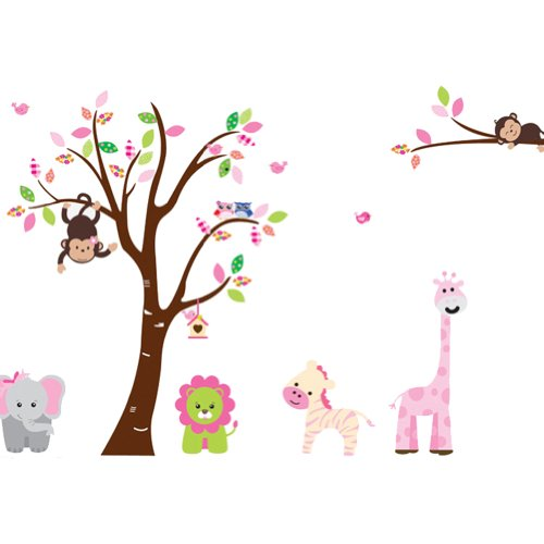 Monkey Decal Set (Cartoon Cute Monkeys Big Trees Removable Wall Stickers Home Decor Decals For Children's Room Nursery, Set Of 2 Sheets (animal-tree))