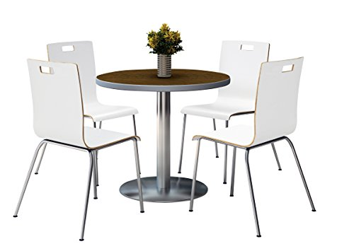 KFI seating Round Laminate Top Pedestal Table with 4 Whit...