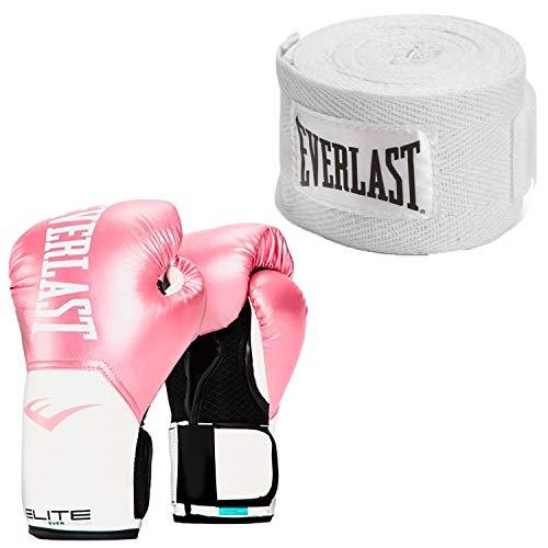 Elite Leather Boxing Gloves - Everlast Elite Pro Style Leather Training Boxing Gloves Size 12 Ounces, PinkEverlast 120 Inch Polyester Cotton Boxing Sparring Training Hand Wraps, White