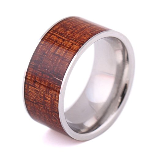 Mens 10mm Wide Stainless Steel Vintage Style Jewelry Wood Inlay Wedding Engagement Promise Big Band Comfort Fit Flat Top ()