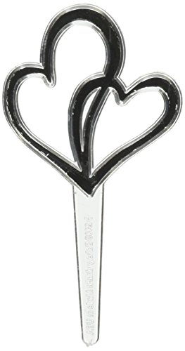 Oasis Supply Cupcake/Cake Double Heart Wedding Picks, 2-Inch, Silver, 12-Pack