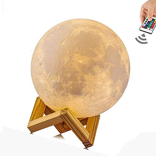 Xelparuc Night Light Lighting Touch Control LED 3D Printing Warm Moon Lamp Brightness Gift for Kids and Halloween Equipment (16Colors 5.9inch)