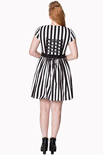 Streifen Herz Weiß Banned Schwarz Schwarz Weiß Mini Vintage Alternative Herz und zu Kleid qnSa8xS