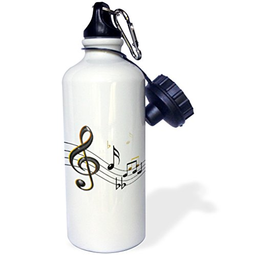 3dRose wb_55502_1 Music Notes Clef, Sixteenth, Quarter Notes, Beamed Notes, Flats and Sharps in Black and Gold Sports Water Bottle, 21 oz, White (Notes Quarter Note Music)