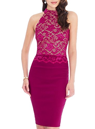 WOOSEA Women's Elegant Sleeveless Floral Lace Vintage Midi Cocktail Party Dress (Medium, (Stretch Prom Formal Dress)