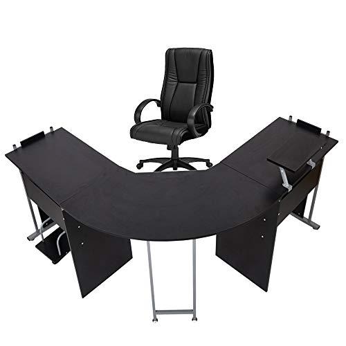 """71"""" L-Shaped Computer Desk Modern Wood Corner Gaming Table PC Laptop Office Desk Writing Working Workstation Symmetrical Desks for Home Office,Black"""
