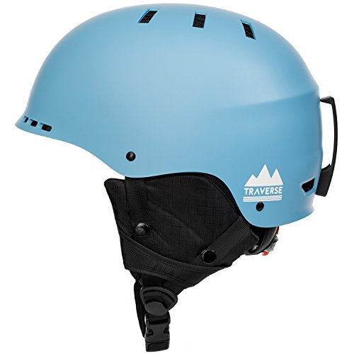 Traverse Sports 2-in-1 Convertible Ski & Snowboard/Bike & Skate Helmet, Matte Sky Blue, Large/X-Large (Helmet Blue X-large Matte)