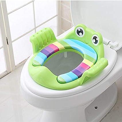 Reductor de WC con Reposabrazos para Beb/é para Viajes Patr/ón de Dibujos Animados Leisial Port/átil Asiento de Inodoro para Ni/ños