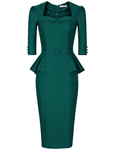MUXXN Lady Pinup 60s Tea Length Dresses Cut Out Neck Empire Waist Dress with Sleeves (Dark Green XL) (Dress Peplum Waist)