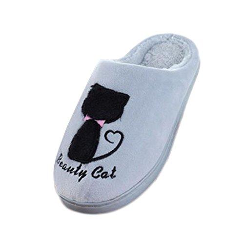 Pantoufles d'intérieur d'hiver Pantoufles de sol Cute Cat Velvet Mules Pantoufles de coton antidérapant chaud-Silver Grey