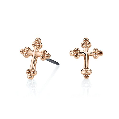 CHARLIZE GADBOIS 925 Sterling Silver Cross Stud Earrings, Rose Gold Plated, Hypoallergenic by Gadbois Jewelry