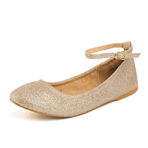 (DREAM PAIRS Women's Sole-Fina-Straps Gold Glitter Ankle Straps Ballet Flats Shoes - 11 B(M) US)