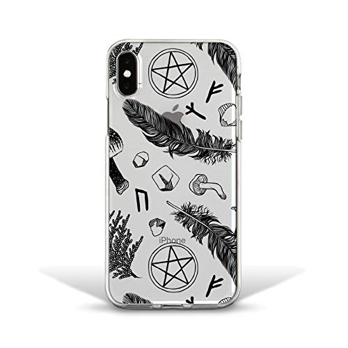 (Marmori Albo Witch Feather Pattern Back Clear Soft Silicone Cover Case for iPhone X 10 Xs Max XR 7 8 Plus 6 6s 5 5s SE)