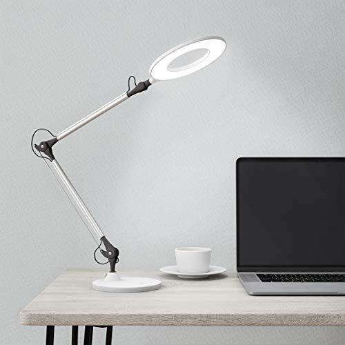 Lavish Home 72-LMPEC-2 Swing Arm Architect Desk Lamp, LED Ring Stepless Dimming-High CRI 95-Eye Friendly Task Lighting…