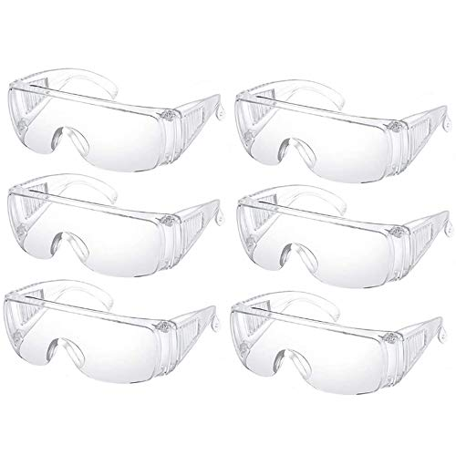 6PCS Clear Safety Glasses Personal Protective Equipment Standard Transparent Goggles UV Protection Adult Over Glasses Goggle