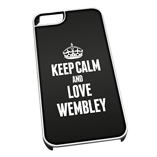 Bianco cover per iPhone 5/5S 0696nero Keep Calm and Love Wembley