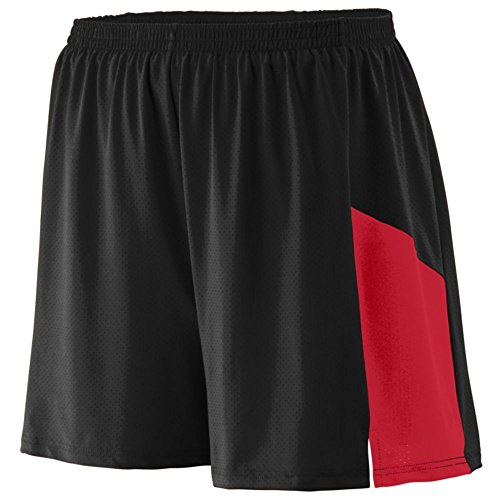 Augusta Athletic Sprint Short - Youth, Black/Red, Small by Augusta Athletic