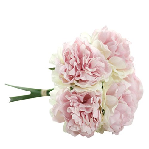 Elevin(TM) Artificial Rose Peony Silk Pink Flowers 5 Flower Head Leaf DIY Home Table Garden Wedding Decor (A)