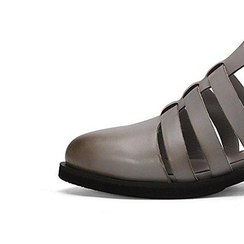 Mr. LQ - Zapato de Roma del cuero genuino de la manera de la mujer Gray