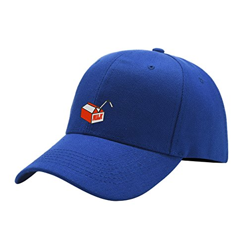 Clihugo Milk Lover Blue Peaked Hat Embroidered Logo Adjustable Fish Cap