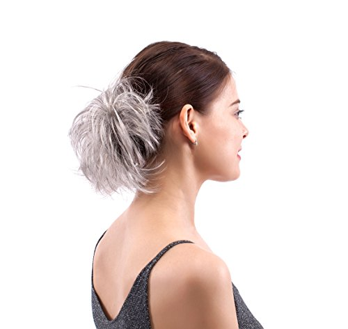 MERRYLIGHT Grey White Synthetic Hair Extensions Ponytail Bun Updo Hairpieces for Women (Grey White-M3/60)