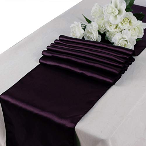 mds Pack of 10 Wedding 12 x 108 inch Satin Table Runner for Wedding Banquet Decoration- -