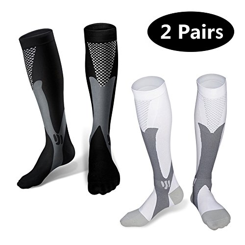 Sunfung Graduated Compression Socks 20-30 mmHg for Nurses Cycling Runners Fitness Weight Lifting Maternity Teachers for Men and Women 2 Pairs L/XL (1-Pair Black +1-Pair White)