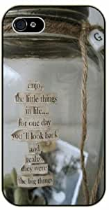 Enjoy the little things in life... for one day you'll look back and realize they were the big things - Bottle - Bible verse iPhone 5 / 5s black plastic case / Christian Verses