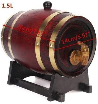 Sndy 1.5L / 3L / 5L木製の木材赤ワインオークバレルウイスキーラム酒醸造樽コンテナ-1.5L